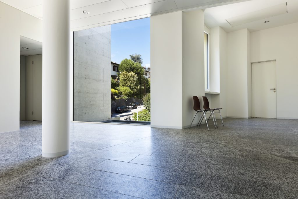building interior, granite floor, white wall